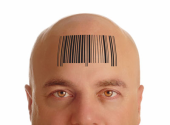 male forehead with bar code resized 170